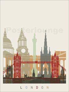 Free art print of London skyline poster. London skyline poster in editable vector file Posters Decor, Image Deco, Living In London, London Instagram, City Vector, Cityscape Art, London Skyline, Free Art Prints, London Photography
