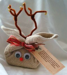 Washcloth Covered Bar of Soap Reindeer........  Poem - Everyone loves this time of year, All the laughter and the good cheer, So here's a gift as Christmas nears, One of Santa's cute little reindeer! (changed the ending just a bit) These would be cute for the kids to make to give to their parents!