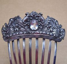 Antique early Victorian hair comb silver by ElrondsEmporium