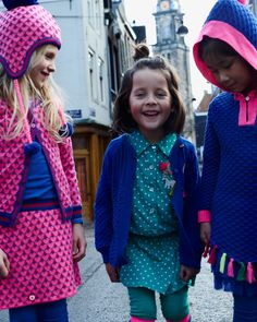 Happy girls in cute mim-pi outfits, on the streets of Amsterdam. #pink #green #blue