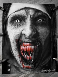 Horror Movie Tattoos, Horror Movies, Scary Movies, Horror Posters, Horror Icons, Arte Cholo, Black Line Tattoo, Girl Face Tattoo, Horror Drawing
