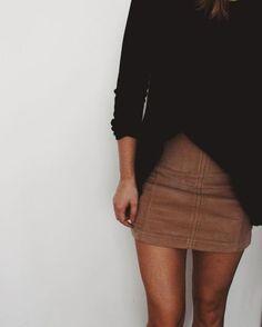 brown skirt + black long sleeve