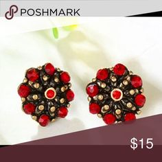 Scalloped studs red/black/gold.-Brighton inspired Scalloped studs with black/red/gold, Brighton knock offs, marked as Brighton. Brighton Jewelry Earrings