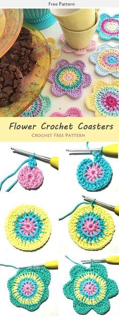 Flower Crochet Coasters Crochet Free Pattern #freecrochetpatterns