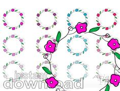 flower circles clip art set, wedding floral wreath clipart, pink purple blue colors, round frame, commercial use clipart, instant download