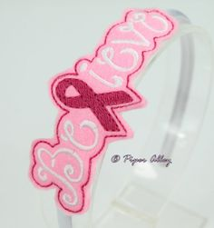 Believe Felt Headband Slider Breast Cancer Awareness by PiperAlley