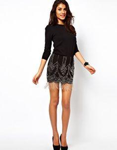 #asos                     #Skirt                    #ASOS #Beaded #Skirt #with #Fringe #Detail #asos.com                          ASOS Beaded Skirt with Fringe Detail at asos.com                              http://www.seapai.com/product.aspx?PID=1343158