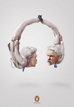 Creative print advertising – Penguin Audiobooks Mark Twain – Shaped like headphones for Penguin's audiobooks campaign Advertising Awards, Clever Advertising, Print Advertising, Print Ads, Cannes Lions, Graphic Illustration, Illustrations, Performance Artistique, Ads Creative