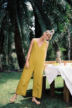 Casual London Fashion Our gorgeous Mustard French Linen Scout Jumpsuit. Shop Linen Wear Now.Casual London Fashion Our gorgeous Mustard French Linen Scout Jumpsuit. Shop Linen Wear Now. Summer Outfits, Casual Outfits, Moda Boho, Sienna Miller, Linen Dresses, Get Dressed, Minimalist Fashion, Everyday Fashion, Lounge Wear