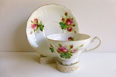 Vintage Cherry China Footed Teacup & Scalloped Saucer, Moss Rose, Made in…