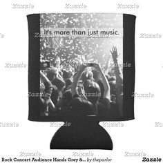 Shop Rock Concert Audience Hands Grey & Black Music Can Cooler created by theparlor. Cool Rocks, Customizable Gifts, Rock Concert, Hand Warmers, Hands, Make It Yourself, Canning, Music, Black