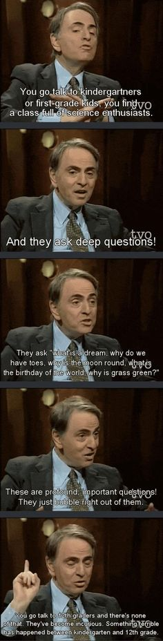Carl Sagan on education. I think it might be because people are ridiculed if they ask too many questions