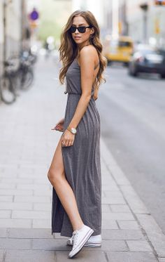 grey maxi dress with converse :)