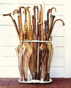 Vintage Umbrellas - chic ways to face a rainy day.  Also a vintage walking stick collection.