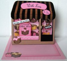 A fabulous keepsake Little Cake Shop card that is simple to make but looks really stunning when made up and will WOW the recipient.  A great card made by Margaret      http://www.craftsuprint.com/card-making/kits/3d-window-cards/3d-fondant-fancies-shoppe-window-pop-up-card-decoupage.cfm?r=380405