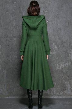 Womens Winter Coat Emerald Green Long Fitted Button by xiaolizi