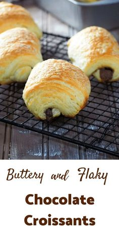 These buttery and flaky chocolate croissants are worth all the effort as you bite into fresh, warm pastries out of the oven. Fun Baking Recipes, Pastry Recipes, Sweet Recipes, Dessert Recipes, Bread Recipes, Chocolate Croissants, Chocolate Croissant Recipe, Chocolate Churros, Homemade Croissants