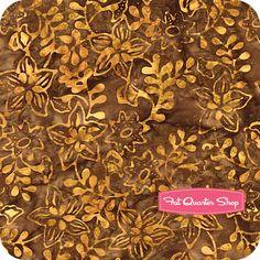 Batavian Batiks Orange on Brown Leaves and Flowers Yardage SKU# 22025-228 - Fat Quarter Shop