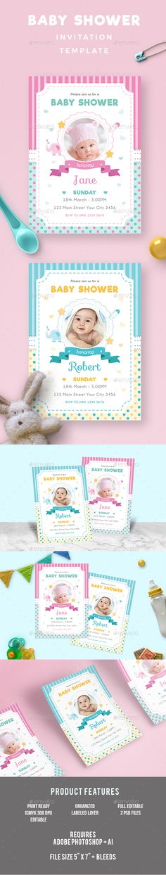 Baby Shower Invitation — Photoshop PSD #pink #son • Available here → https://graphicriver.net/item/baby-shower/19273583?ref=pxcr