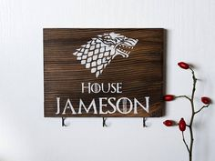 Game of thrones gift, game of thrones key holder, custom sign, custom key holder, stark gift, rustic key rack, distressed sign, key hook, custom wood signs, Christmas gift, personalized gift Wood key holder is perfect addition to any home decor. Made with pine wood, disstressed and