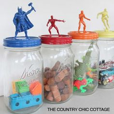 Add army men to the top of treat jars on the dessert table