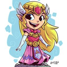 "3,467 curtidas, 9 comentários - Derek Laufman (@dereklaufman) no Instagram: ""Chibi Princess Zelda is finished!  Zelda and Link prints on sale for $5 each for the next 24hrs at…"""