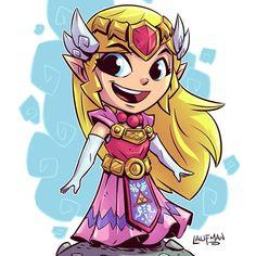 "3,467 curtidas, 9 comentários - Derek Laufman (@dereklaufman) no Instagram: ""Chibi Princess Zelda is finished!  Zelda and Link prints on sale for $5 each for the next 24hrs at…"""