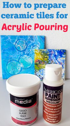 How to Prepare Ceramic Tiles for Acrylic Pouring is part of Ceramic painting Techniques - I get a lot of questions about how well paint sticks to ceramic tiles, and shouldn't I at least gesso… Acrylic Pouring Techniques, Acrylic Pouring Art, Acrylic Art, Acrylic Paintings, Flow Painting, Acrylic Painting Techniques, Pour Painting, Painting Tricks, Painting Lessons