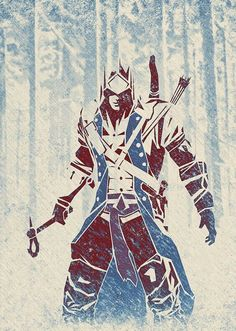 Fan Art by berniedave from assassins creed III featuring Connor Tatouage Assassins Creed, Assassins Creed Series, Assasing Creed, All Assassin's Creed, Deutsche Girls, Assassin's Creed Wallpaper, Geeks, Connor Kenway, Character Art