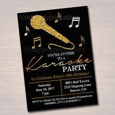 Karaoke will be the main focus of the night. Invitation Text, Diy Invitations, Digital Invitations, Birthday Party Invitations, Invitation Ideas, Black Gold Party, Diy Adult, Gold Party Decorations, For Your Party