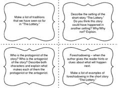 002 Comprehension Chart 'The Lottery' by Shirley Jackson