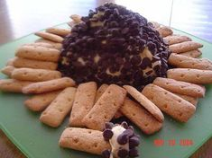 I got this recipe from a friend of mine after eating it at a Christmas party. I usually cut back on the chips I stir into the ball and roll the ball in chips instead of nuts. Just personal preference. I also buy regular and chocolate graham crackers and arrange them around the ball for a nice presentation. Enjoy!