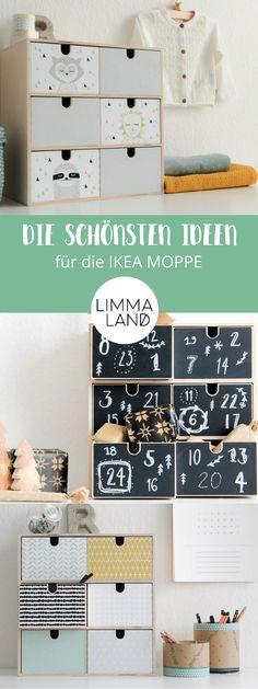 Ideen für die IKEA MOPPE Kommode - diesmal alles zum Bekleben von Tafelfolie, Kinder-Motiven bis hin zu wunderschönen skandinavischen Mustern. So wird die MOPPE zum stylischen Hingucker in jedem Raum! Alle Ideen, Motive und Farben auf unserem Blog