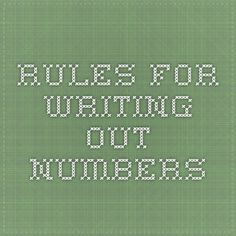 Rules for writing out numbers