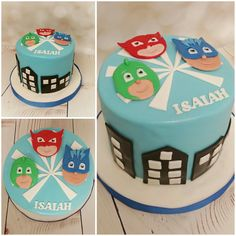 PJ Masks themed cake #pjmasks #pjmaskscake #birthdaycake