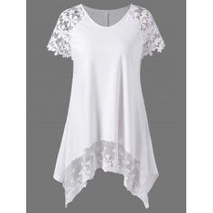 Raglan Sleeve Lace Trim Asymmetric Long T-Shirt - Wedding Dresses Mode Outfits, Fashion Outfits, Womens Fashion, Fashion Clothes, Fashion Site, Cheap Fashion, Casual Outfits, Fashion Stores, Women's Casual