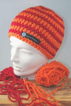 Mützen - Kindermütze Mütze Beanie rot - orange - gestreift - ein Designerstück von DaiSign bei DaWanda