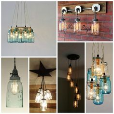 Give these mason jar kitchen lights a try in your home. Great ideas to purchase or make a farmhouse style light for your kitchen.