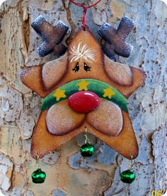 *TOLE PAINTING ~ Jingle Star Reindeer Ornament.