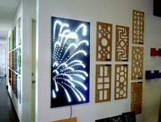 Decorative screen designs like this 'Firweworks' can be made into light boxes and are available as a package through QAQ. 'Fireworks' is just one of our many designs, but the light box really makes this one come alive! Fireworks Design, Laser Cut Screens, Garden Screening, Decorative Screens, Interior Decorating Styles, Screen Design, Metal Wall Art, Metallic, Boxes