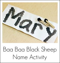 Baa baa black sheep nursery rhyme activities