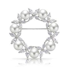 Christmas Gifts White Simulated Pearl Marquise CZ Wreath Pin Rhodium Plated -- Click image for more details.
