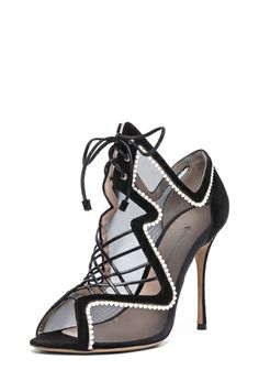 Nicholas Kirkwood Suede & Net Lace Up Heels in Black & White