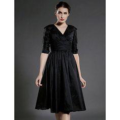 A-line V-neck Knee-length Taffeta  Mother of the Bride Dress – EUR € 80.84