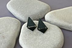 Geometric Earrings. Leather and silver от ZvuvA на Etsy