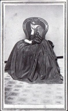 Another Victorian device to show grief, face away from the camera and appear to weep.