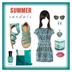 """Summer  Sandals"" by gladys-hernandez-lewis on Polyvore featuring Vera Bradley, Glitzy Rocks, Miu Miu, Lime Crime and Deborah Lippmann"