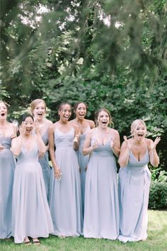 Thinking about having a first look with your bridesmaids? This squad's reaction to their bride bestie has melted our hearts!  Photographer: @emilyerutledge  #bridesmaids #bridesquad #bridesmaidphotos #bridesmaiddresses Bridesmaid Dress Styles, Bridesmaid Proposal, Brides And Bridesmaids, Wedding Dresses, Bridal Party Getting Ready, Bridesmaid Inspiration, Vintage Wedding Theme, Wedding Story, Perfect Wedding