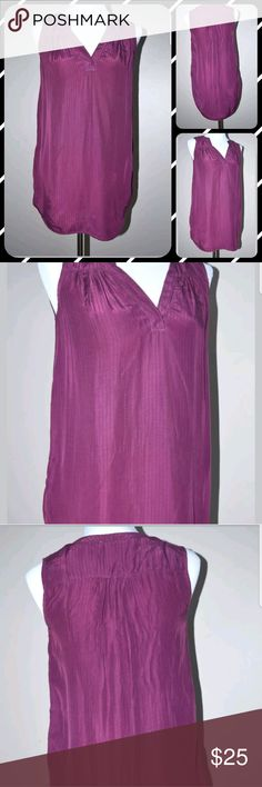 "Ella Moss Purple Eggplant Pinstriped Tunic Top Ella Moss Purple Eggplant Rayon Pinstriped Tunic Tank Top   Size S   Length: 29-32""    Chest: 18""    Condition:  EUC  My items come from a smoke-free household, we do have a kitty, so an occasional hair may occur!  Washed in Cold and Hung Dry  Ella Moss Tops Tunics"