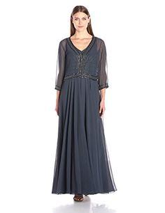 J Kara Womens Plus Size 34 Sleeve Long Dress SilverMulti 20W Check